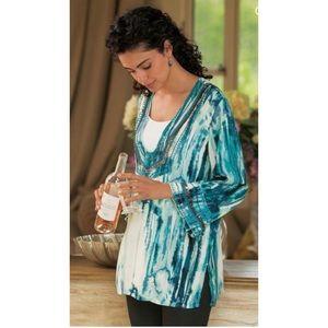 Soft Surroundings Sequin Tunic Blouse Top L